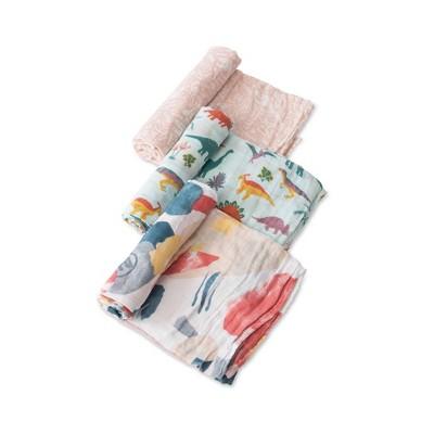 Little Unicorn Cotton Muslin Swaddle Blankets - 3pk Embroidasaurus