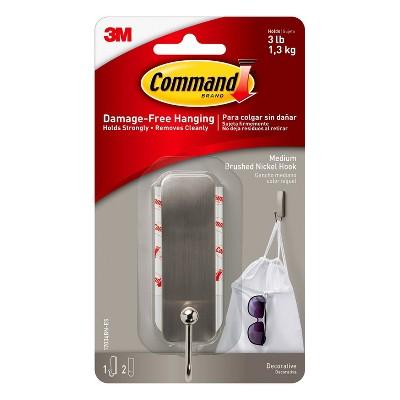 Command Medium Sized Hook (1 Hook 2 Strip)Brushed Nickel