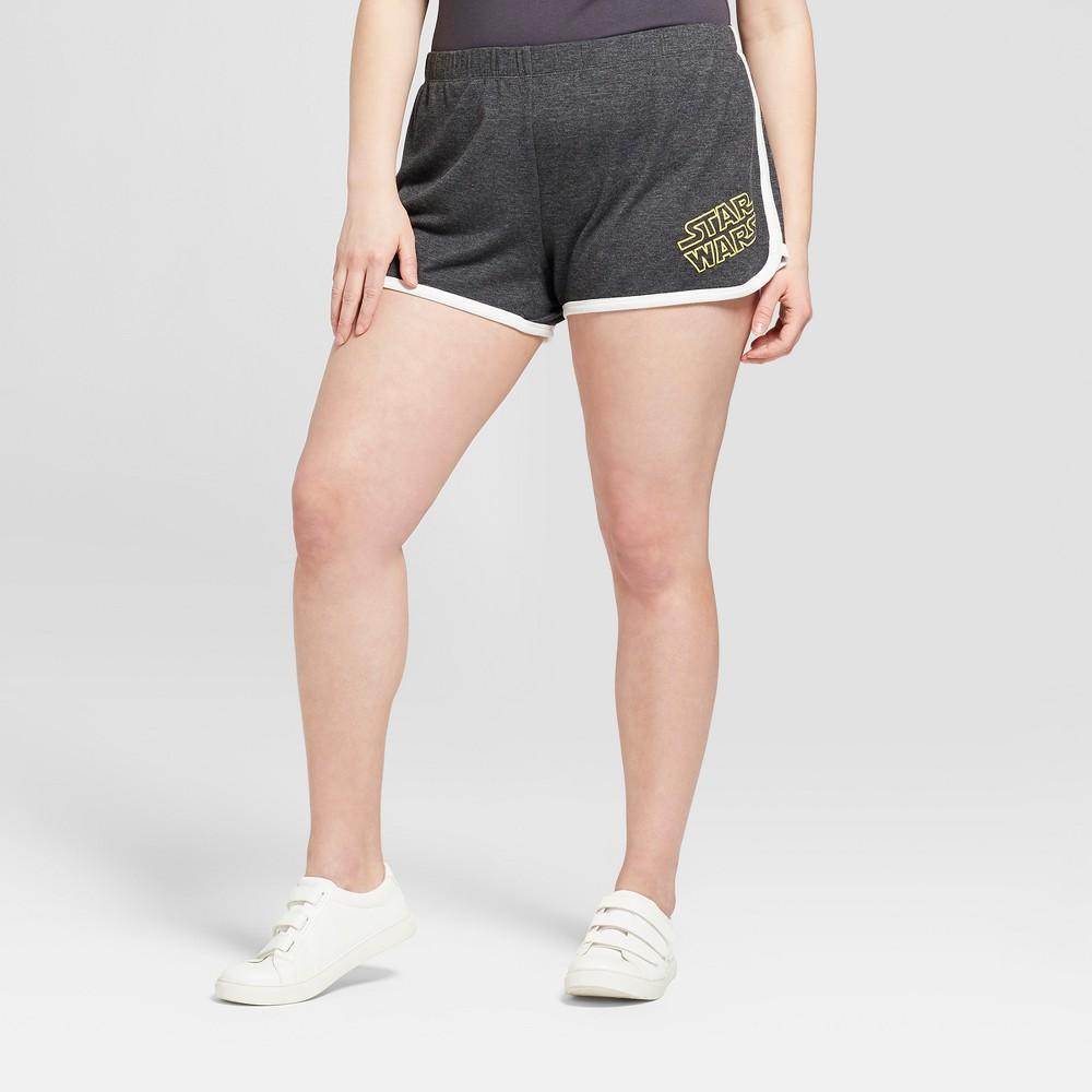 Women's Star Wars Plus Size Logo Graphic Shorts (Juniors') Charcoal 2X, Gray