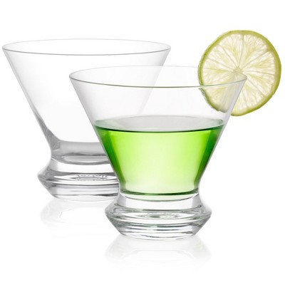 JoyJolt Cosmos Martini Glasses–Set of 2 Crystal Stemless Cocktail Glass with Heavy Base – 8.5 oz