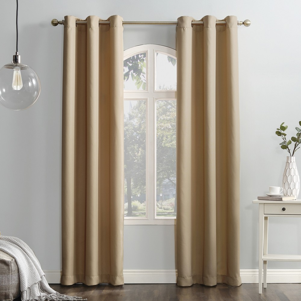 Montego Casual Textured Grommet Curtain Panel Taupe (Brown) 48
