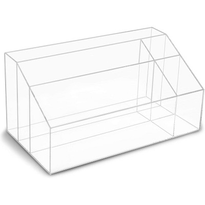 """Juvale Clear Acrylic 5 Compartments Desk Organizer for Home, Bathroom & Office Organization 12.3"""" x 6.7"""" x 6"""""""