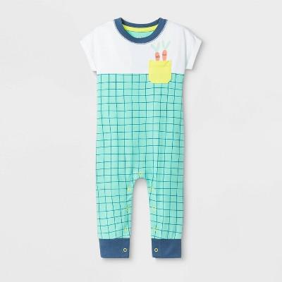 Baby Easter Carrot Pocket Romper - Cat & Jack™ Green 18M