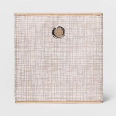 "11"" Fabric Cube Storage Bin Cross Hatched Tan - Room Essentials™"