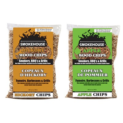 Smokehouse Apple and Hickory BBQ Smoker & Grill Smoking 100 Percent Natural Hardwood Wood Chips, 1.75 Pound Bag (2 Pack)