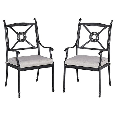 Home Styles Athens 2 Piece Patio Arm Chairs With Cushion Charcoal