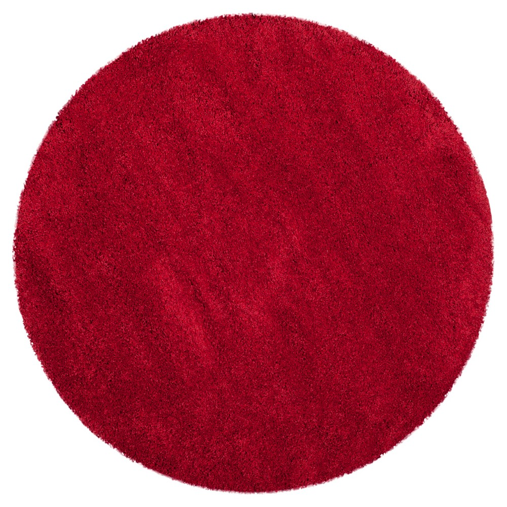 Red Solid Shag/Flokati Loomed Round Accent Rug - (3' Round) - Safavieh