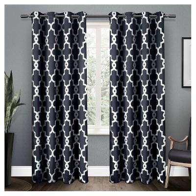 Ironwork Sateen Woven Room Darkening Window Curtain Panel Pair Blue (52 x63 )- Exclusive Home™