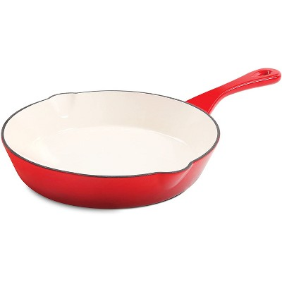 Crock Pot 8 Inch Round Artisan Enameled Non Stick Cast Iron Skillet Cooking Pan with Long Carry Handle and Double Pour Spouts, Scarlet Red