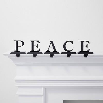 5pk Peace Stocking Holder Black - Wondershop™