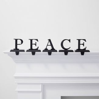 5pk Peace Stocking Holder Black - Wondershop™