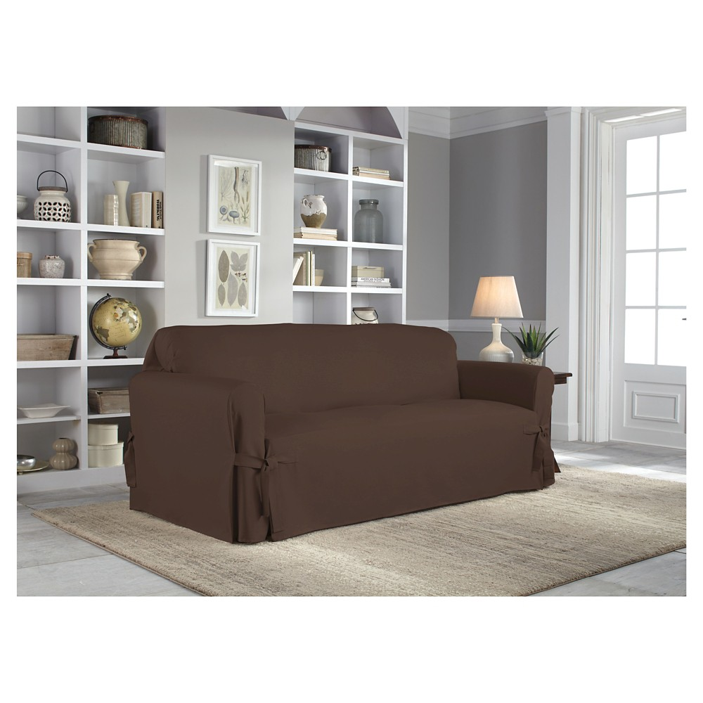 Chocolate (Brown) Relaxed Fit Duck Furniture Loveseat Slipcover - Serta