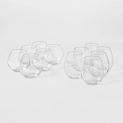 12pk Glass Tall and Short Stemless Wine Glass Set - Threshold™