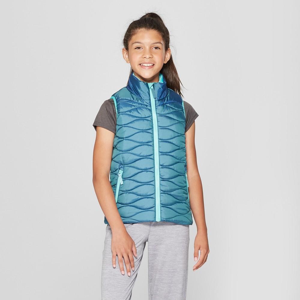 Girls' Solid Puffer Vest - C9 Champion Green S