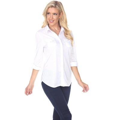 Women's Skylar Stretchy Button-Down Top - White Mark