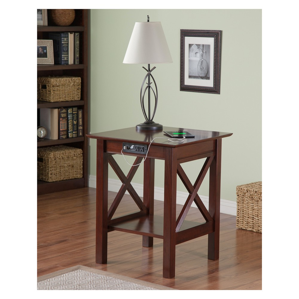 Printer Stand Modern Feel Usb Charger Brown - Atlantic Furniture Add an extra dose of function to your workspace with the Modern-Feel Printer Stand. This walnut wood printer stand features a simple, modern design with crisscross details along the base for added style. Whether you use it as a convenient way to support your printer or to display a houseplant, lamp or another decorative object, you'll love how easily it can enhance the overall look and functionality of your space. Color: Brown.