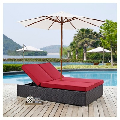 Convene 2pc All Weather Wicker Double Patio Chaise W/Umbrella   Espresso  Red   Modway : Target