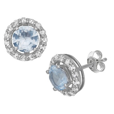 6mm Round-Cut Aquamarine Halo Earrings in Sterling Silver