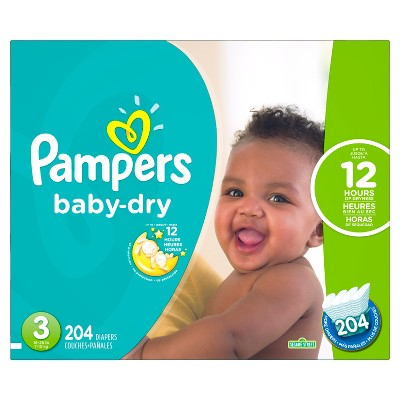 Pampers Baby Dry Diapers Economy Plus Pack Size 3 (204 ct)