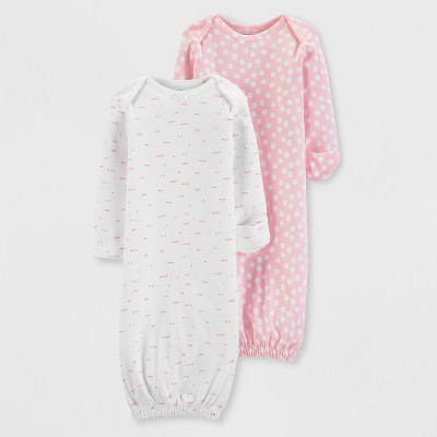 Little Planet Organic by carter's Baby Girls' 2pk Nightgowns - Pink/White 3M
