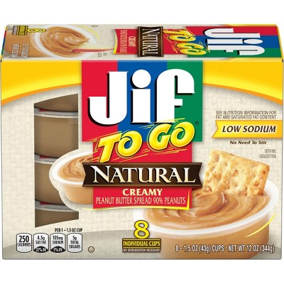 Jif To Go Natural Peanut Butter - 12oz/8ct