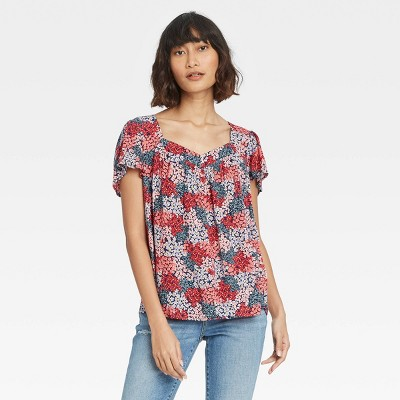 Women's Floral Print Short Sleeve Top - Knox Rose™ Navy