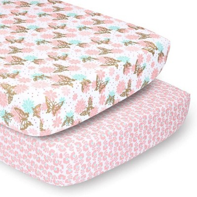 PS by The Peanutshell Sheets Pink and Gold Butterfly/Pink Ditsy Floral 2pk
