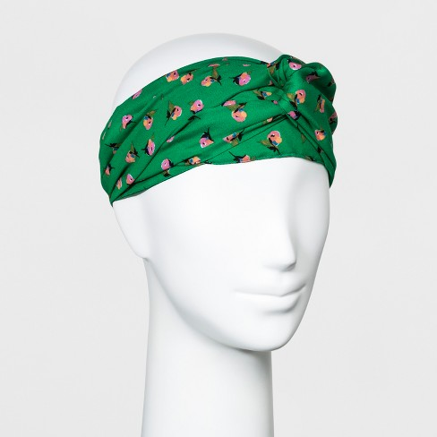Women s Floral Print Twist Front Headband - A New Day™ Green   Target 5ff4ef7b128