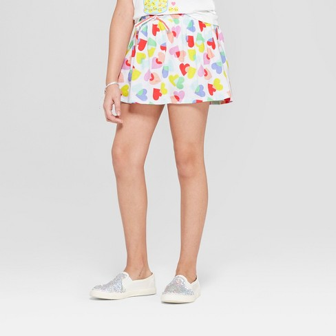 Girls' Knit Scooter Skirt Heart Print - Cat & Jack™ White - image 1 of 3