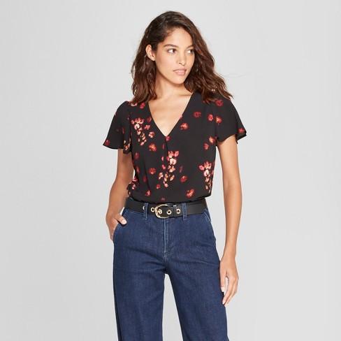 00c38d2aa51d9 Women s Floral Print Short Flutter Sleeve Blouse - A New Day™ Black XL    Target