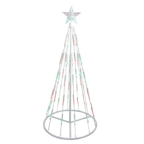 Northlight 4' White Single Tier Bubble Show Cone Christmas Tree Lighted Outdoor  Decoration - Multi Lights - Northlight 4' White Single Tier Bubble Show Cone Christmas Tree