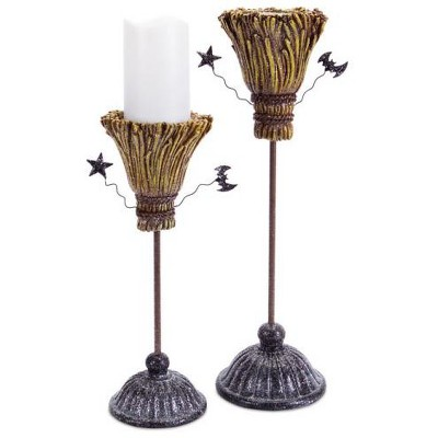 """Diva At Home Pack of 2 Brown and Gray Glittering Witch Broomstick Halloween Pillar Candle Holders 14"""""""