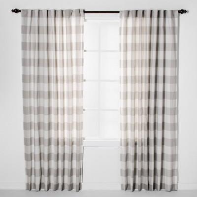 "84""x54"" Plaid Light Filtering Window Curtain Panel Cream/Light Gray - Threshold™"