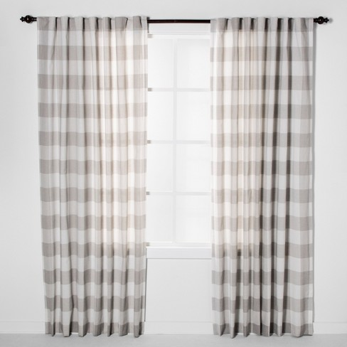 Plaid Light Filtering Curtain Panels Gray - Threshold™ - image 1 of 4