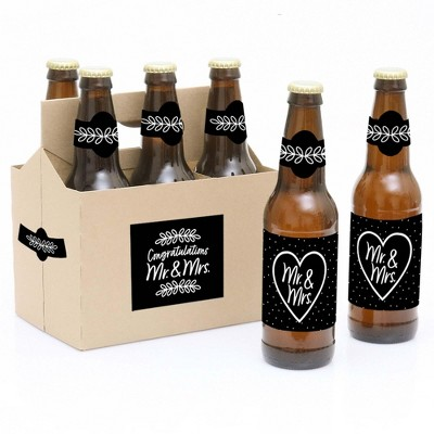 Big Dot of Happiness Mr. and Mrs. - Black and White Wedding or Bridal Shower Decorations for Women & Men - 6 Beer Bottle Label Stickers & 1 Carrier