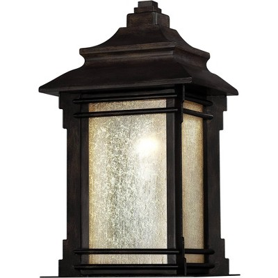 """Franklin Iron Works Rustic Farmhouse Outdoor Wall Light Fixture Walnut Bronze 16 1/2"""" Frosted Cream Glass for House Porch Patio"""
