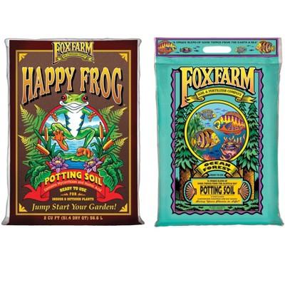 Foxfarm FX14047 Happy Frog Potting Soil Mix and Ocean Forest FX14053 6.3-6.8 pH Garden Potting Soil Mix for Plants, (Bundle)
