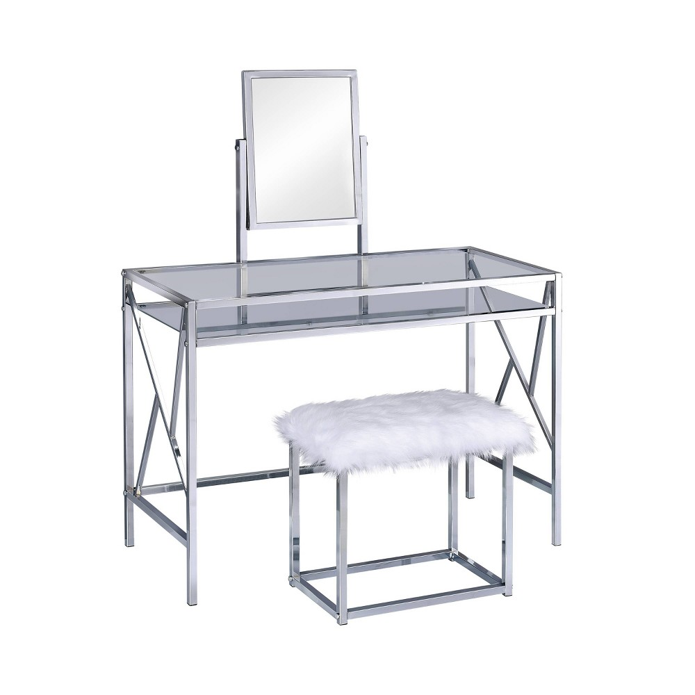 Burdette Contemporary Vanity Table Set Chrome (Grey) - Homes: Inside + Out