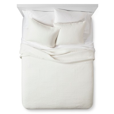 Cream Solid Quilt and Sham Set (King)3pc - The Industrial Shop