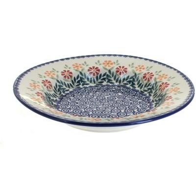 Blue Rose Polish Pottery Garden Bouquet Soup Plate