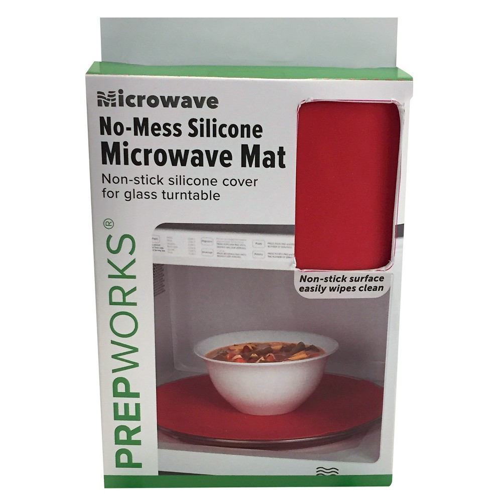 Progressive Silicone Microwave Mat, Red Keep your microwave cleaner for longer with the Silicone Microwave Mat from Progressive. This red microwave mat fits most glass turntables and can be cut to accommodate smaller sizes. It's the perfect solution for a mess-free microwave, whether you're heating up a bowl of soup or a plate of pasta, and the non-stick surface makes for quick and easy cleaning.