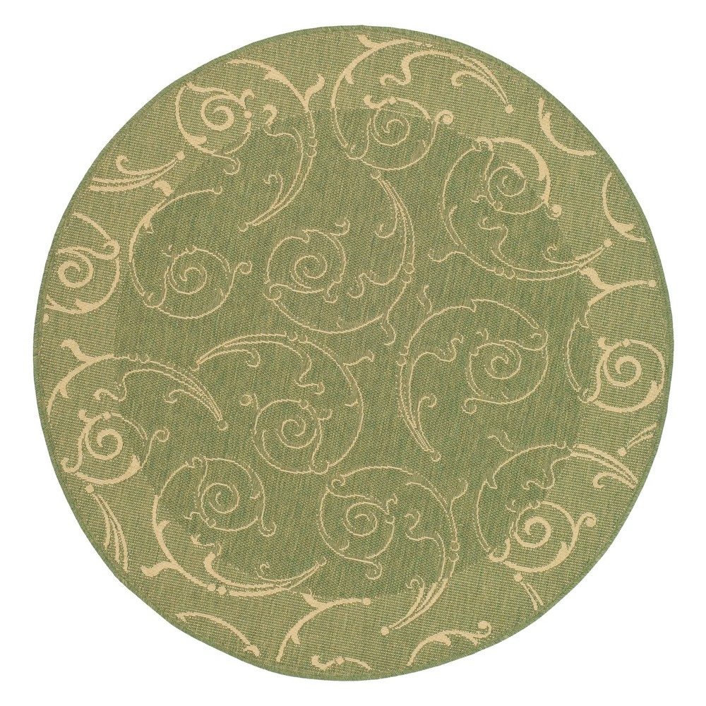 6'7 Pembrokeshire Round Outdoor Rug Olive/Natural (Green/Natural) - Safavieh
