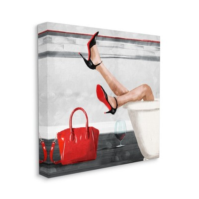 Stupell Industries Women's Fashion Bathroom Red Wine Heels