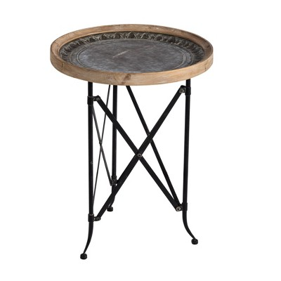 Classic Vintage Wood and Metal Round Side Table Natural/Black - A&B Home