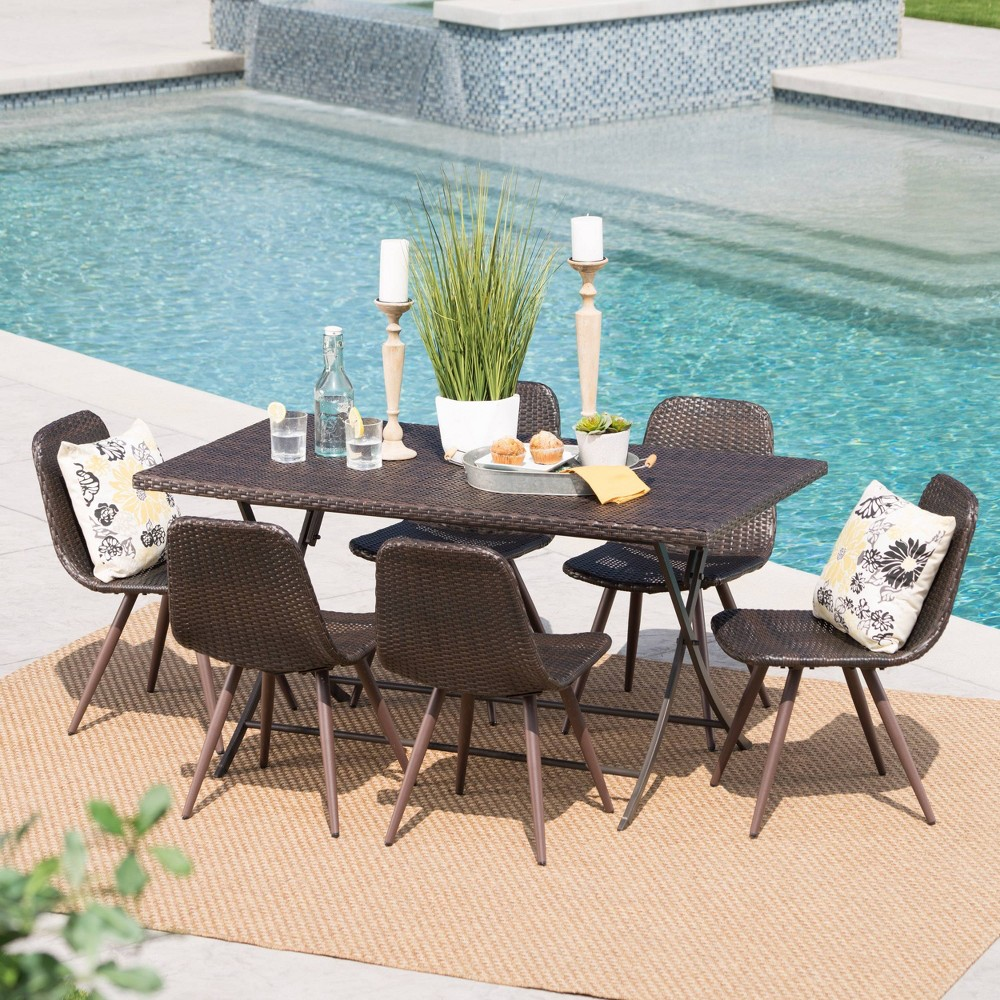 Lrya 7pc Wicker Dining Set - Brown - Christopher Knight Home