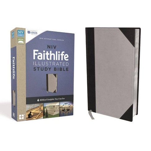 NIV, Faithlife Illustrated Study Bible, Imitation Leather, Gray/Black - by  Zondervan (Leather_bound) - image 1 of 1