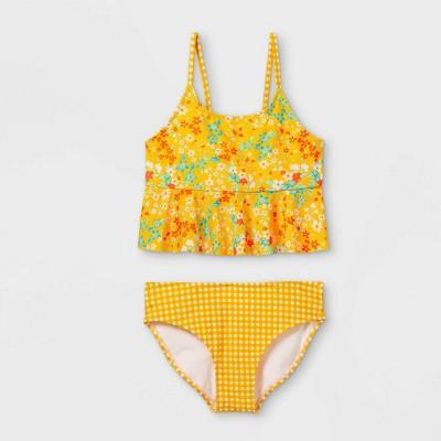 Girls' Babydoll Floral Print Midkini Set - art class™ Yellow