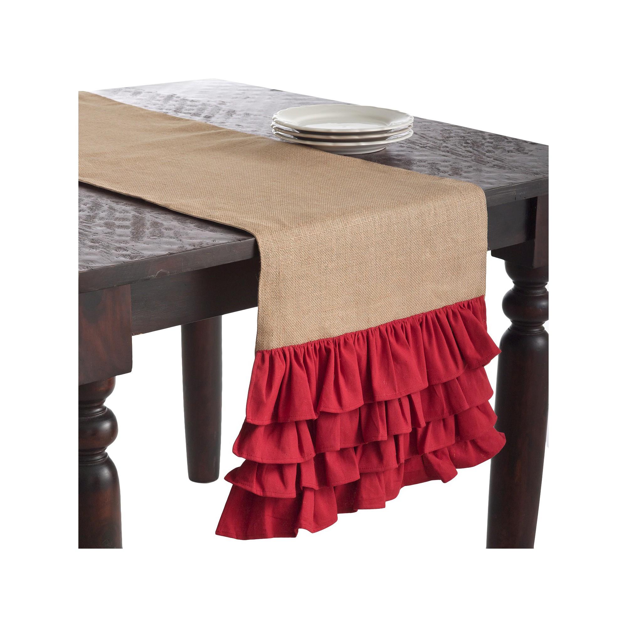 Ruffle Design Jute Runner Red (16
