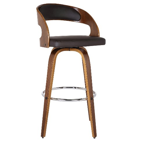 Brilliant 26 Shelly Counter Stool Walnut Brown Faux Leather Armen Living Onthecornerstone Fun Painted Chair Ideas Images Onthecornerstoneorg