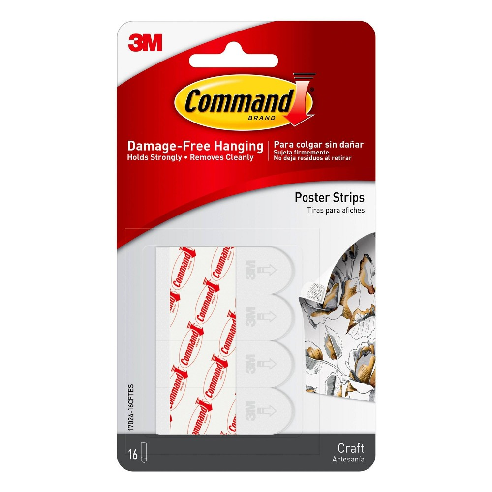 Image of Command 16ct Craft Poster Strips, White